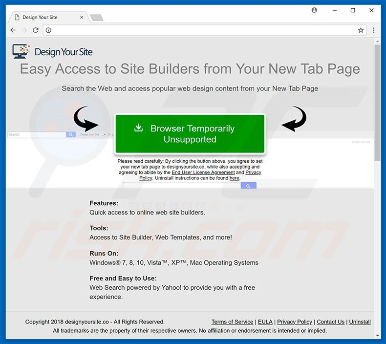 Website used to promote Design Your Site browser hijacker