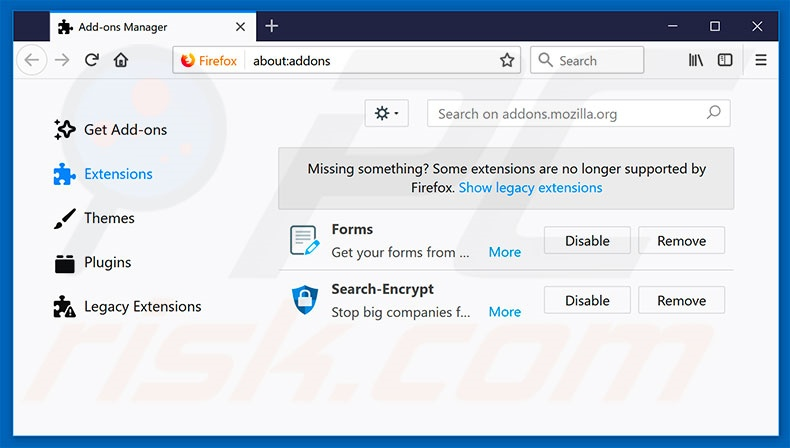 Removing search.hfreeforms.co related Mozilla Firefox extensions