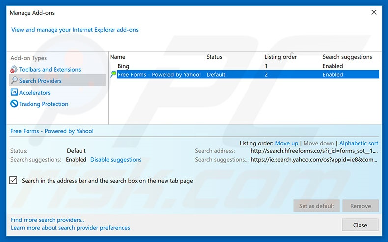 Removing search.hfreeforms.co from Internet Explorer default search engine