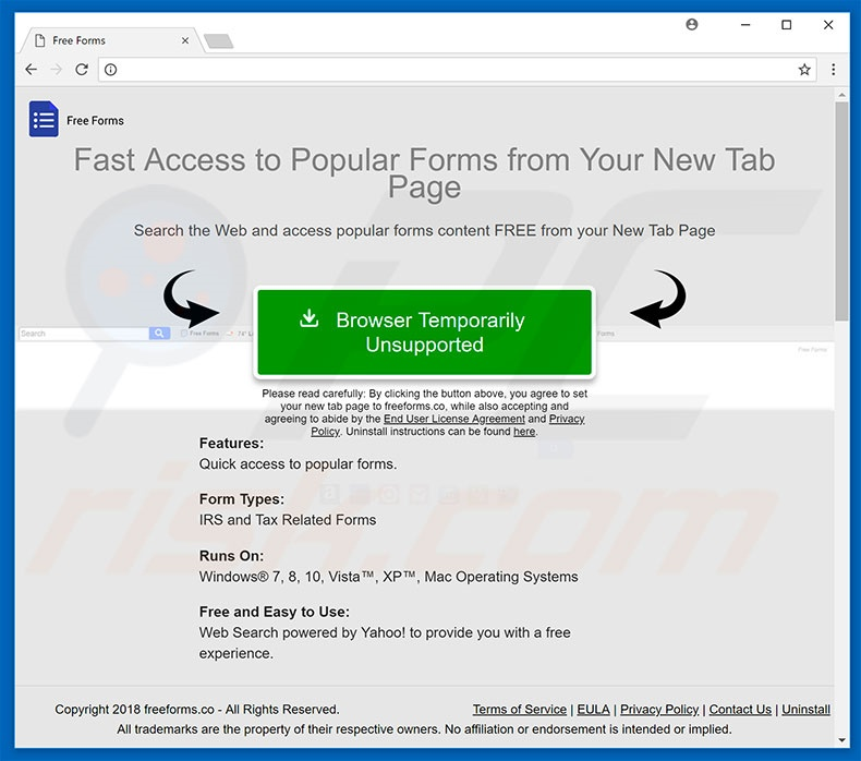 Website used to promote Free Forms browser hijacker