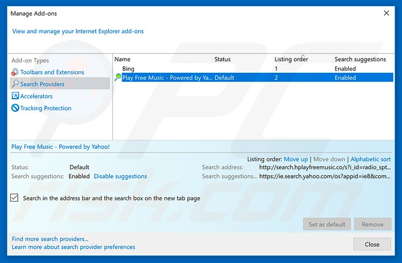 Removing search.hplayfreemusic.com from Internet Explorer default search engine
