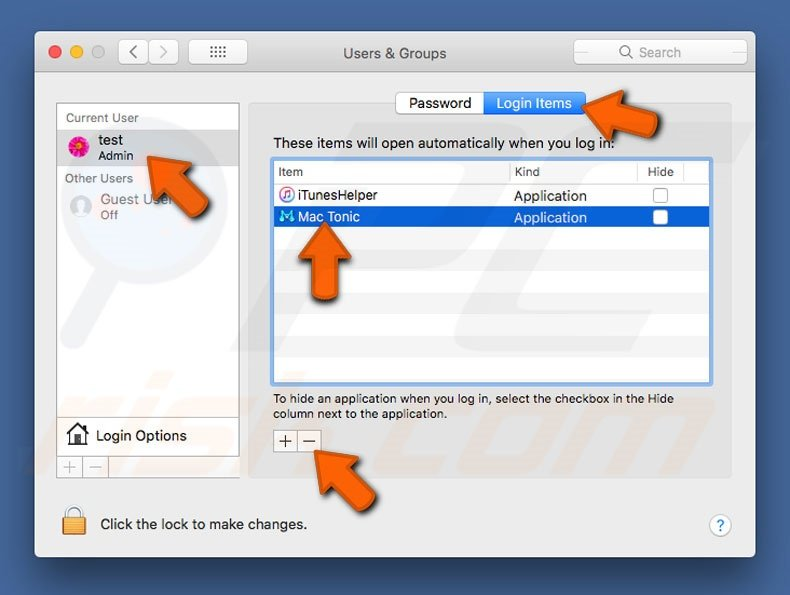 Mac Tonic PUP system preferences