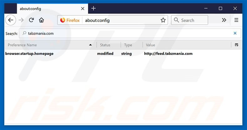 Removing tabzmania.com from Mozilla Firefox default search engine