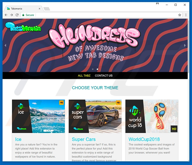 Website used to promote Tabzmania browser hijacker