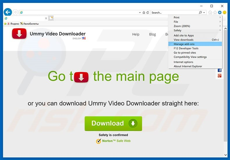 Removing Ummy Video Downloader ads from Internet Explorer step 1
