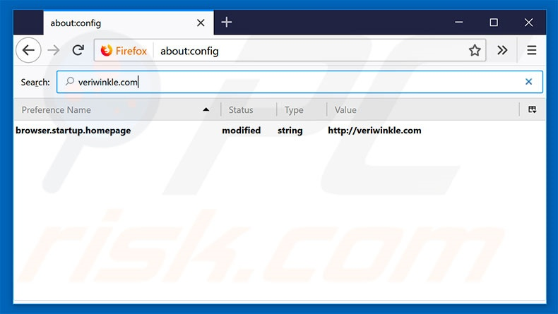 Removing veriwrinkle.com from Mozilla Firefox default search engine