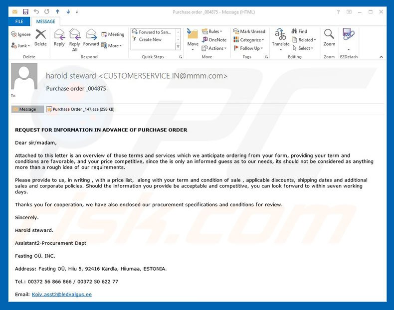 How to remove Purchase Order Email Virus - virus removal