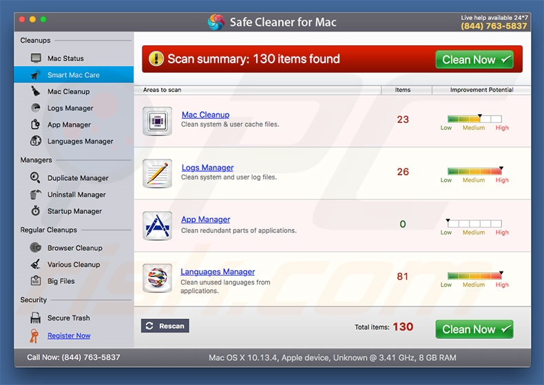 Safe Cleaner for Mac unwanted application