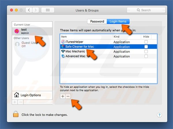 Safe Cleaner for Mac PUA system preferences