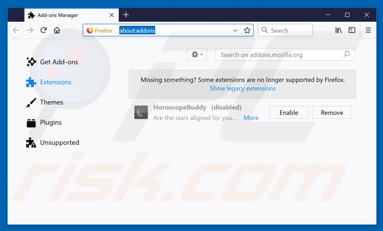 Removing tityx.com ads from Mozilla Firefox step 2