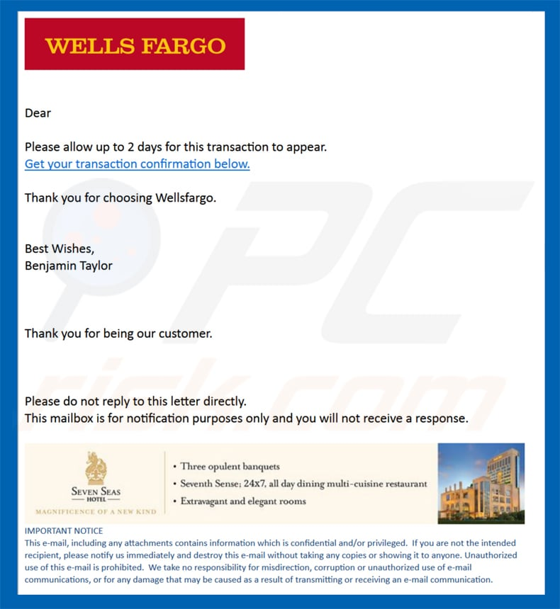 wells fargo spam email sample 2