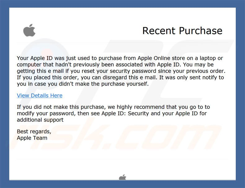 Apple Recent Purchase Email Virus malware