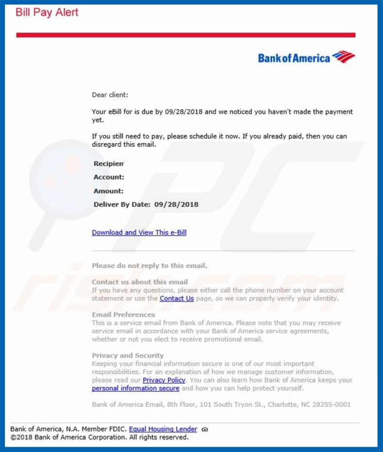 bank of america email virus variant 2