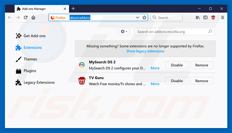 Removing safesearch.trustnav.com related Mozilla Firefox extensions