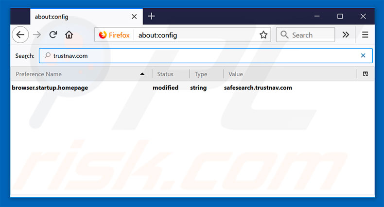 Removing safesearch.trustnav.com from Mozilla Firefox default search engine