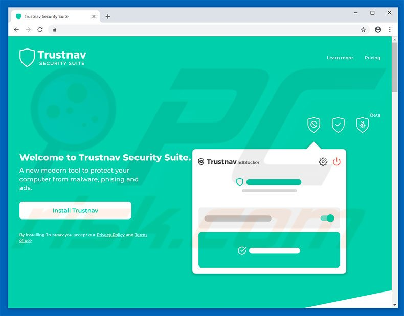 Website used to promote Trustnav Safesearch browser hijacker