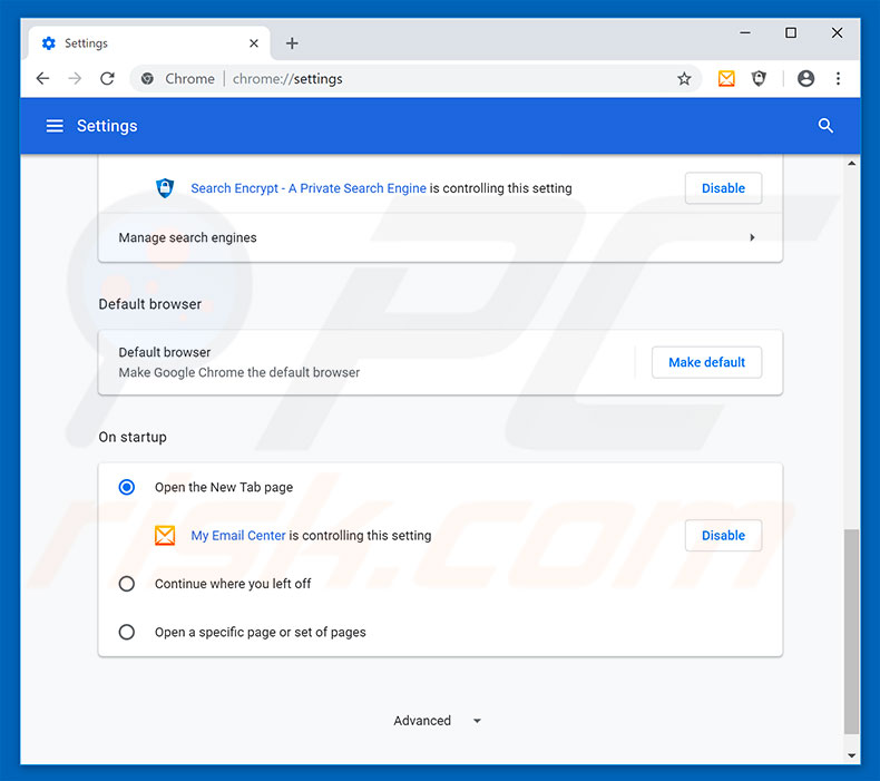 how to change my default email in chrome