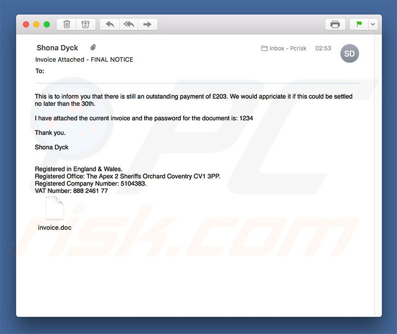 How to remove Invoice Attached - FINAL NOTICE Email Virus - virus