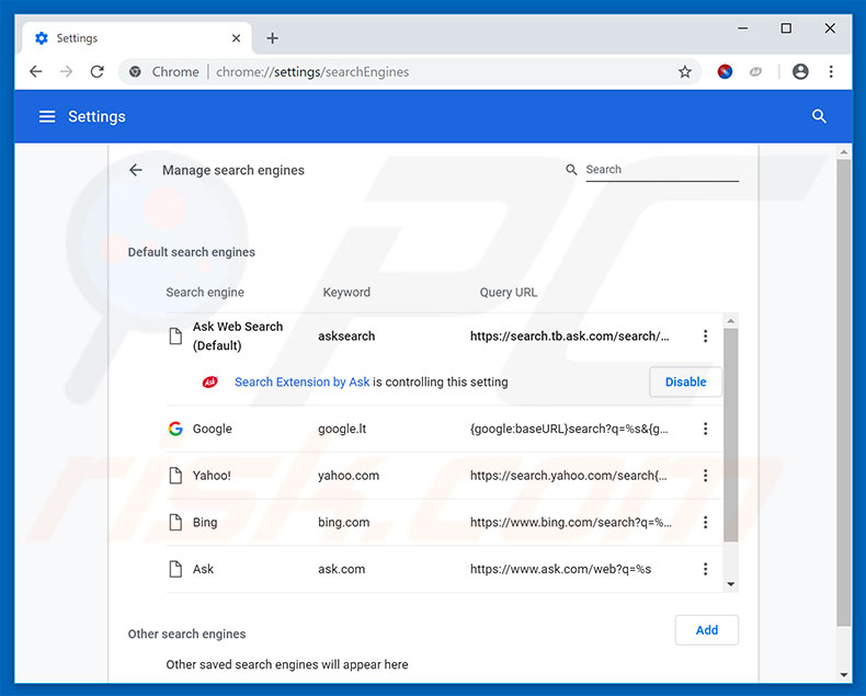 Removing hp.myway.com from Google Chrome default search engine