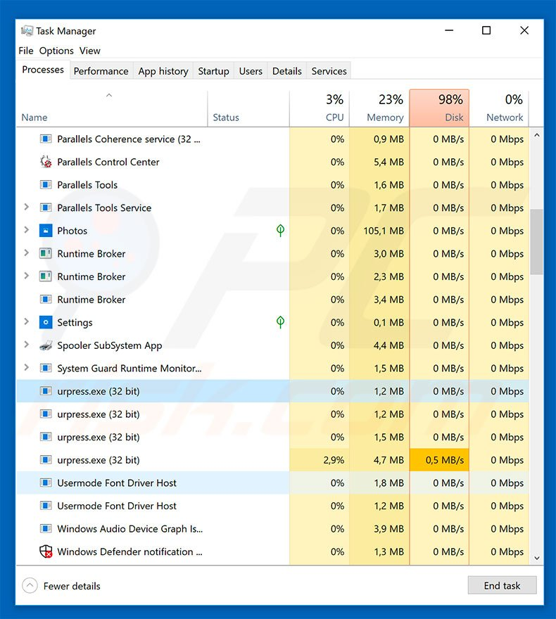 SAVEfiles ransomware in task manager
