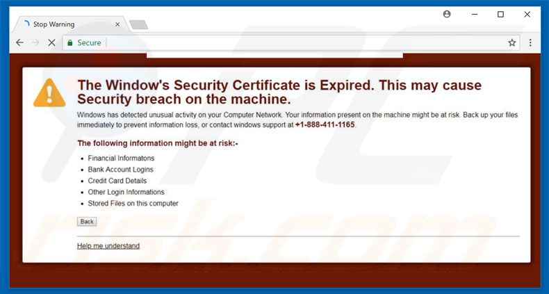 Window's Security Certificate Is Expired scam