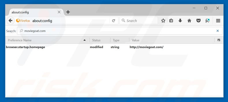 Removing feed.moviegoat.com from Mozilla Firefox default search engine