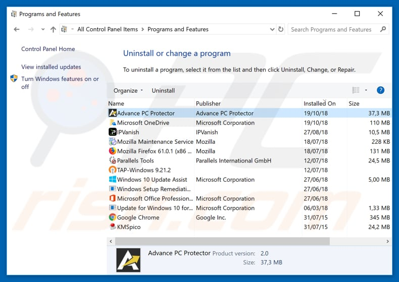 Advance PC Protector adware uninstall via Control Panel