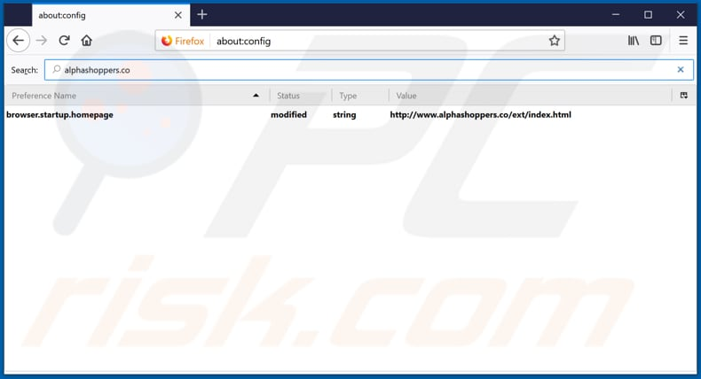 Removing alphashoppers.co from Mozilla Firefox default search engine