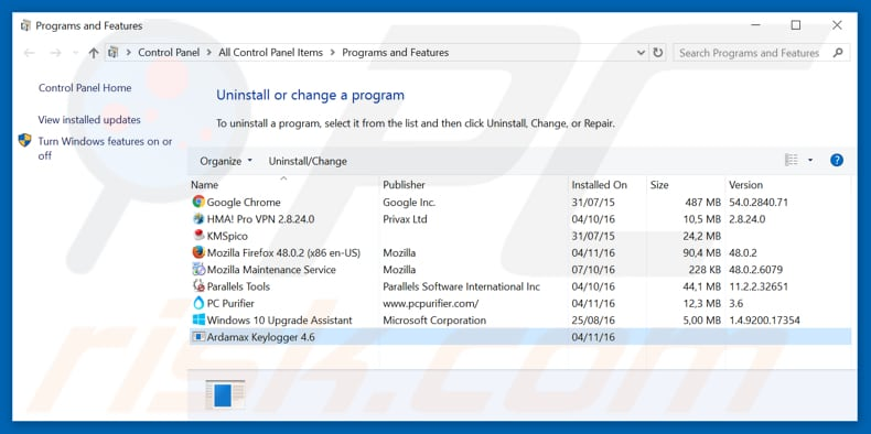 Ardamax adware uninstall via Control Panel