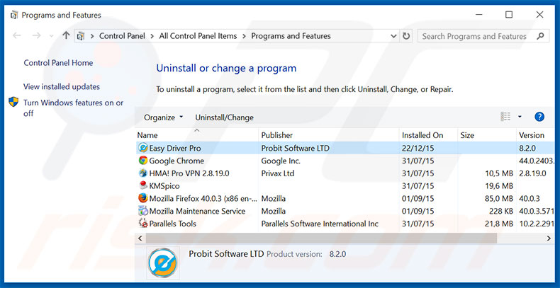 Easy Driver Pro adware uninstall via Control Panel