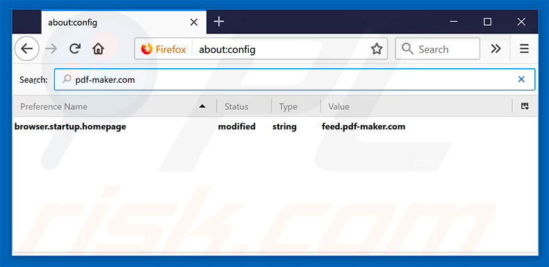 Removing feed.pdf-maker.com from Mozilla Firefox default search engine
