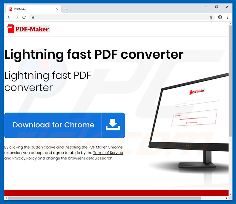 Website used to promote PDF Maker browser hijacker