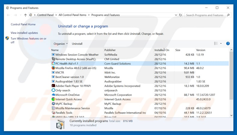 PC Health Aid adware uninstall via Control Panel