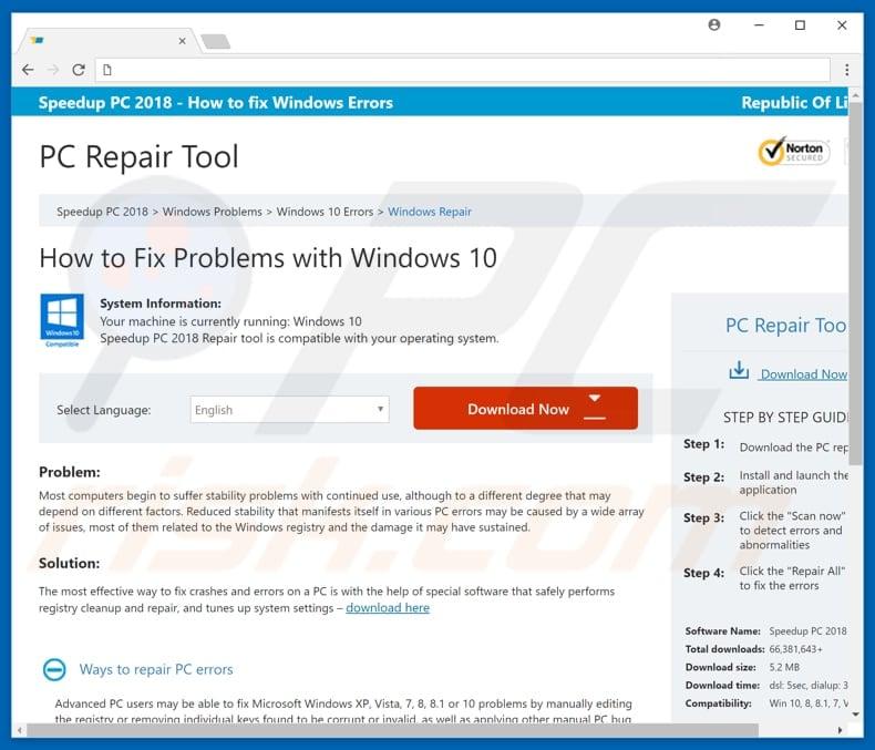 windows pc repair pop up virus