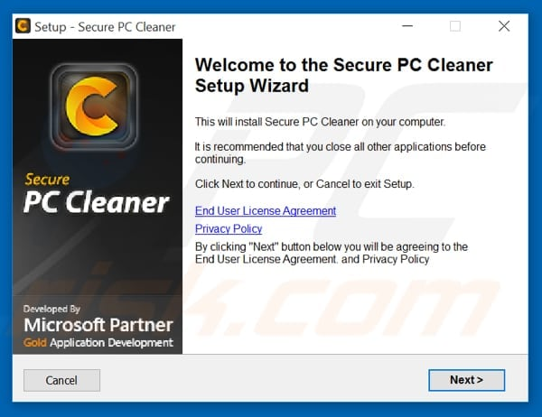 Secure PC Cleaner installation setup
