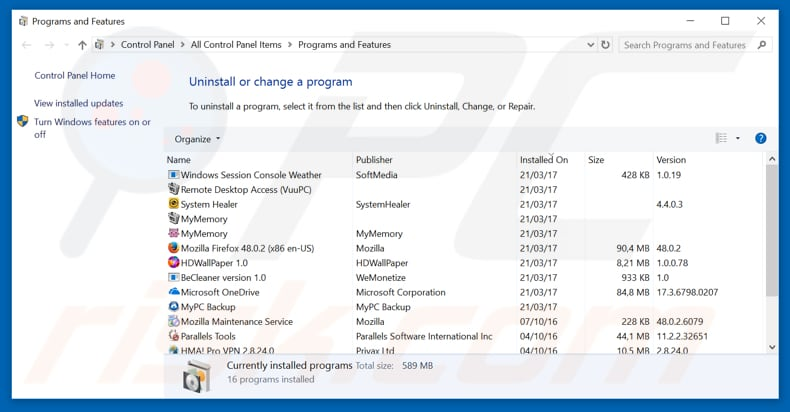 Speed Dial adware uninstall via Control Panel