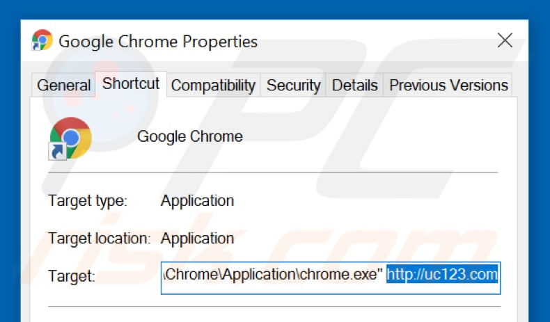 Removing uc123.com from Google Chrome shortcut target step 2