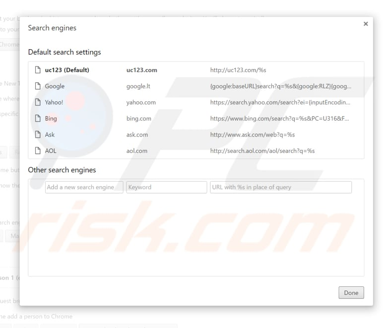 Removing uc123.com from Google Chrome default search engine