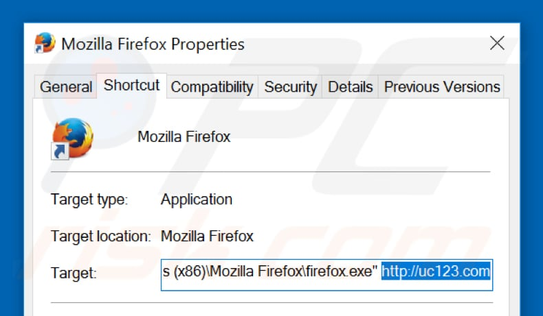 Removing uc123.com from Mozilla Firefox shortcut target step 2