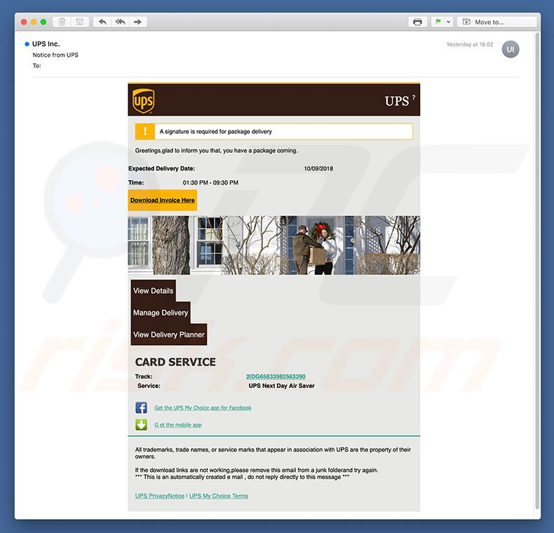 How to remove UPS Email Virus - virus removal instructions