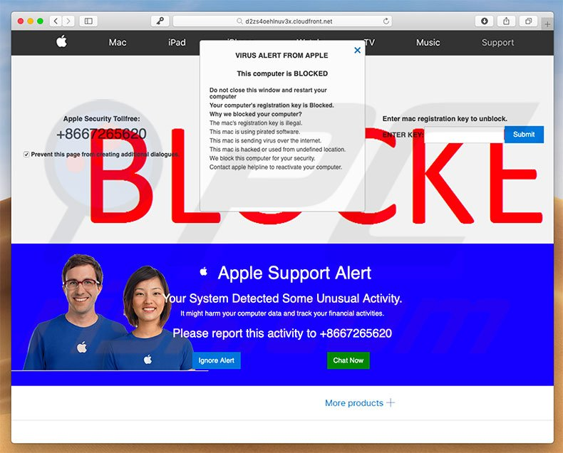 VIRUS ALERT FROM APPLE scam