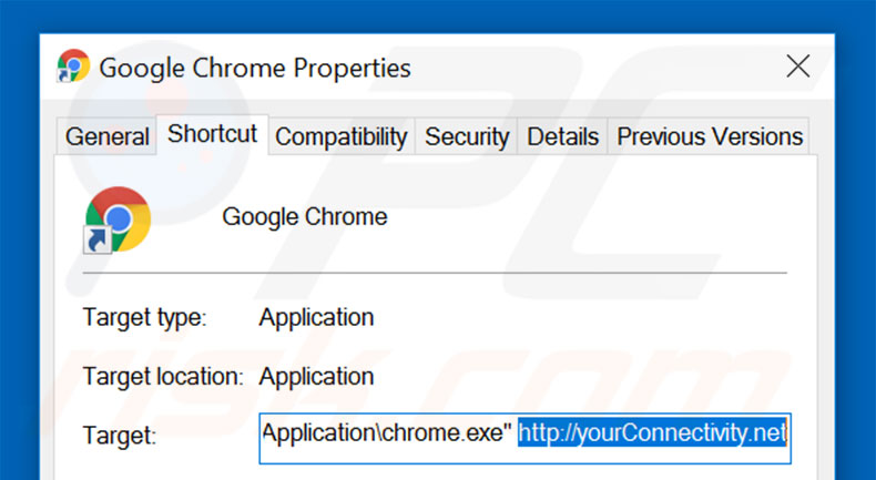 Removing yourconnectivity.net from Google Chrome shortcut target step 2