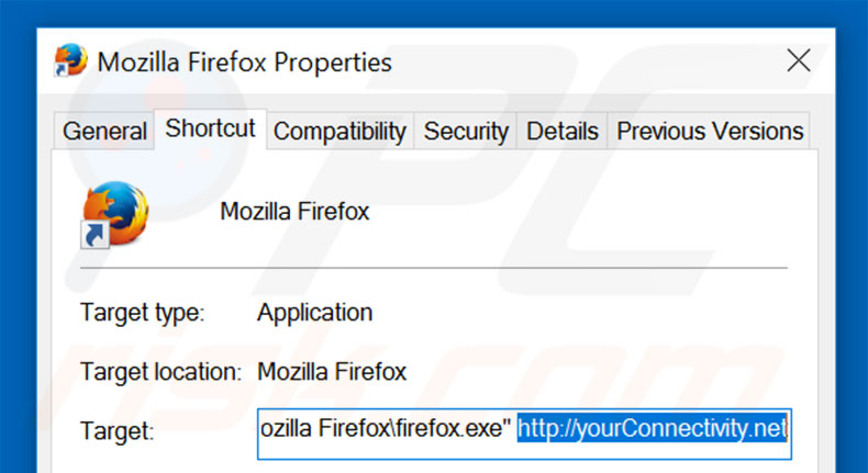 Removing yourconnectivity.net from Mozilla Firefox shortcut target step 2