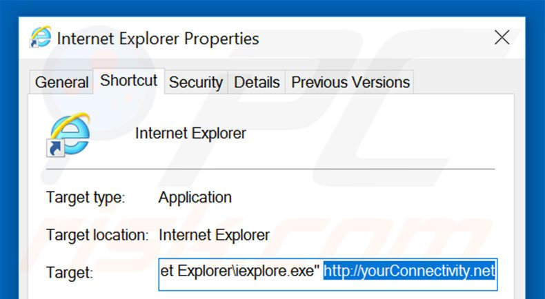Removing yourconnectivity.net from Internet Explorer shortcut target step 2