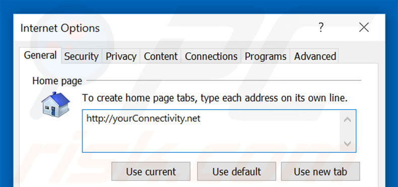 Removing yourconnectivity.net from Internet Explorer homepage