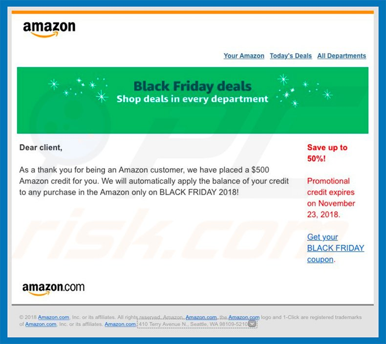 Amazon email virus spam campaign
