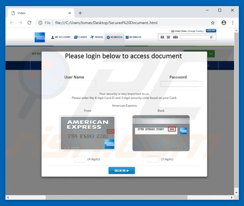 american express email virus website designed to steal password and login