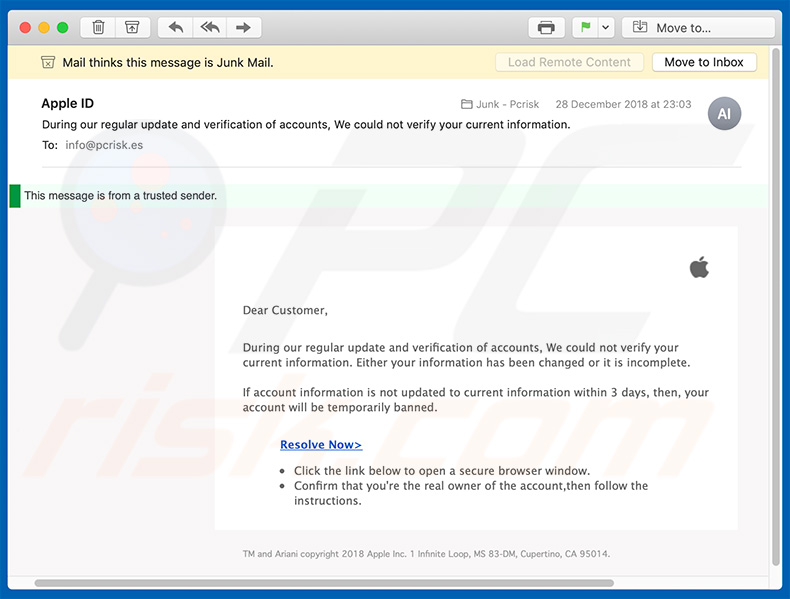 Apple Email Virus phishing campaign (sample 4)