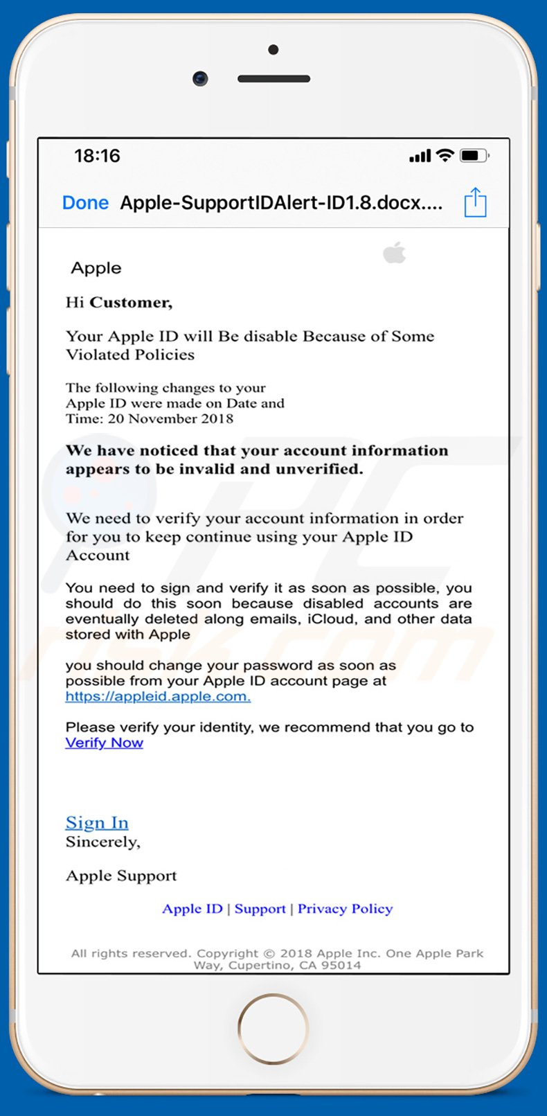 Apple Email Virus phishing campaign (sample 2)
