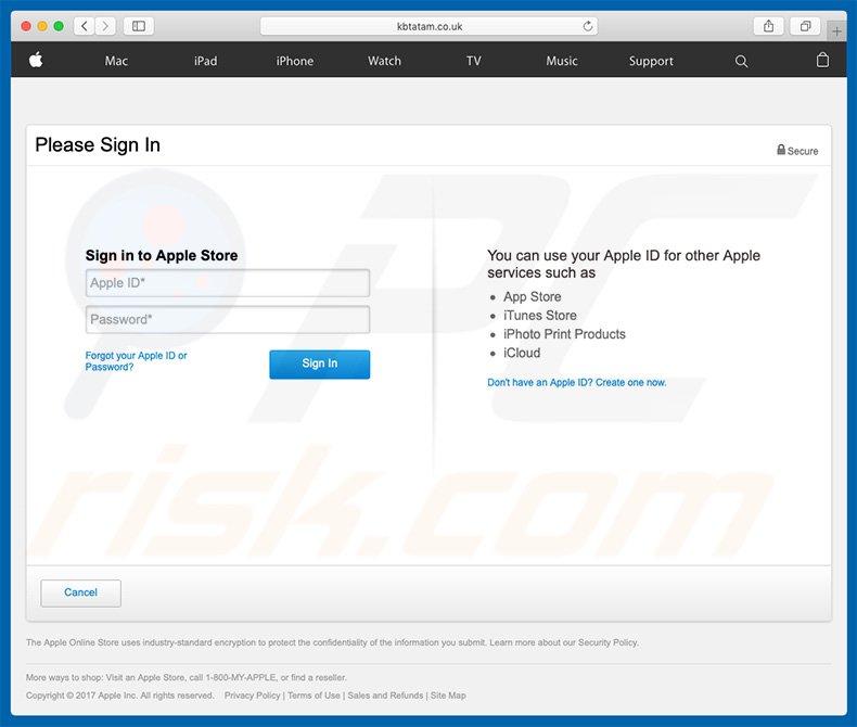 Apple Email Virus fake Apple website asking to enter account credentials